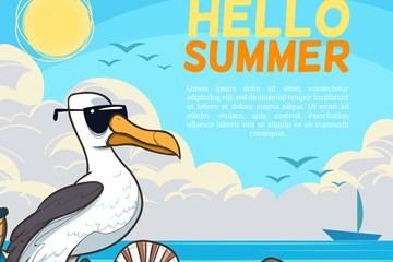 创意夏季沙滩海鸥矢量素材