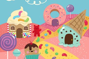 可爱卡通糖果世界设计矢量素材