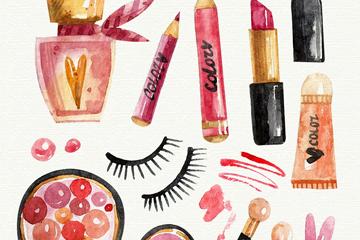 12款水彩绘化妆品矢量素材