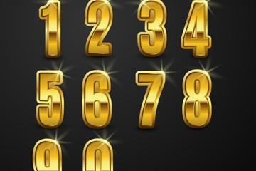 10款金色数字艺术字矢量图