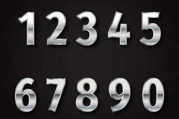 10款银色数字设计矢量图
