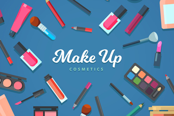 32款彩色化妆品设计矢量图