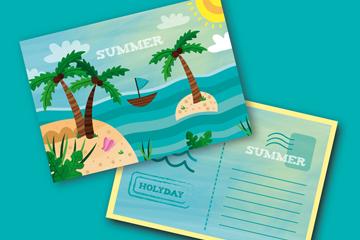 卡通夏季大海岛屿明信片正反面矢量图