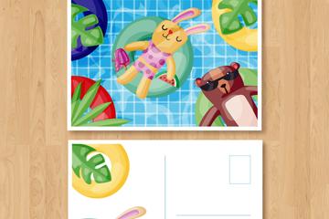 可爱游泳池的兔子和熊明信片矢量图