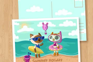卡通夏季度假猫咪明信片矢量图