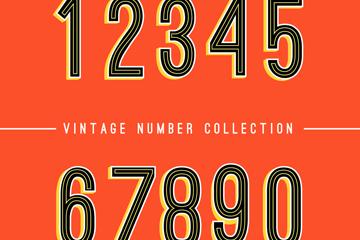 10款复古数字设计矢量素材
