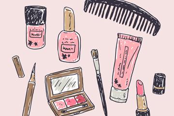 8款彩绘化妆品矢量素材