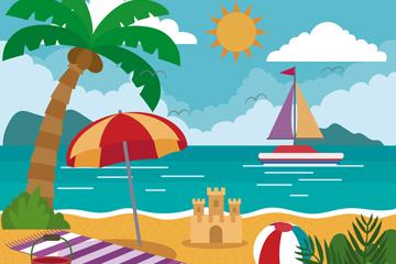创意夏季度假沙滩风景矢量图