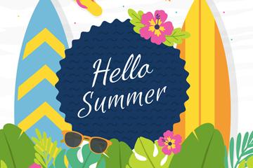 彩色你好夏季花草和冲浪板矢量图