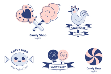 5款清新糖果店标志矢量图