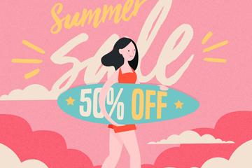 创意夏季冲浪女子促销海报矢量图