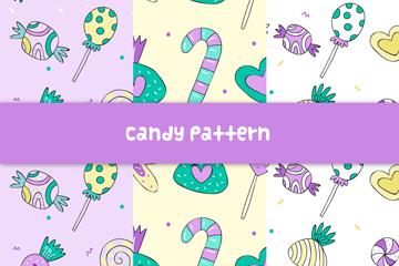 3款紫色糖果无缝背景矢量图