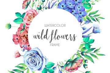 水彩绘野生花卉框架矢量素材