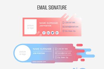 3款创意邮件签名设计矢量图