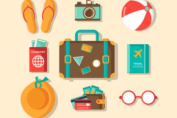9款彩色旅行物品矢量素材