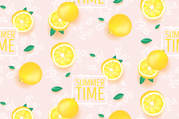 夏季柠檬无缝背景矢量素材
