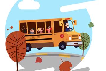 创意道路上行驶的校车矢量素材