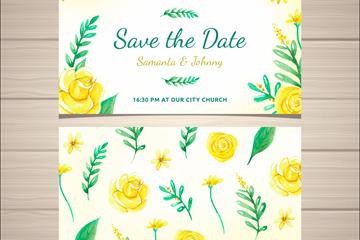 黄色玫瑰花婚礼邀请卡片正反面矢量图