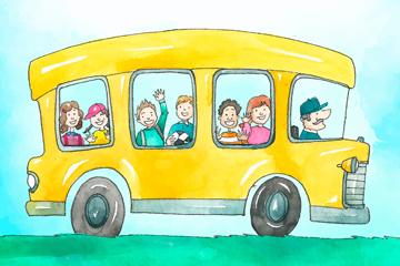 彩绘坐满学生的校车矢量素材