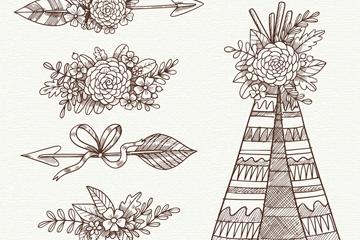 5款手绘波西米亚风装饰物矢量图