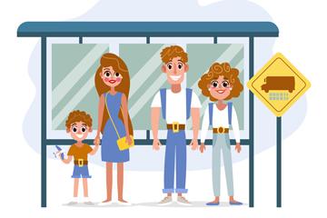 创意公交车站等车的人物矢量素材