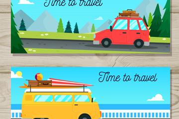 2款创意旅行车辆banner矢量素材