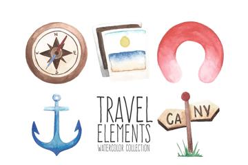 8款水彩绘旅行元素设计矢量素材