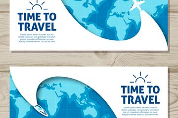 2款创意旅行交通工具banner矢量素材