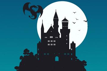创意月夜古堡和龙剪影矢量素材