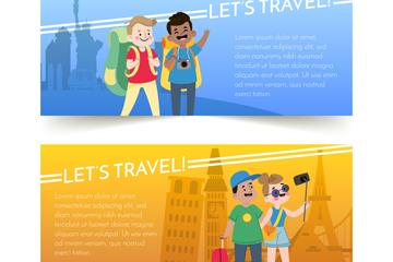 2款创意旅行人物banner矢量素材