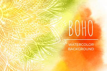 水彩绘波西米亚花纹背景矢量图