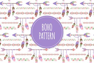 紫色波西米亚风羽毛箭无缝背景矢量图