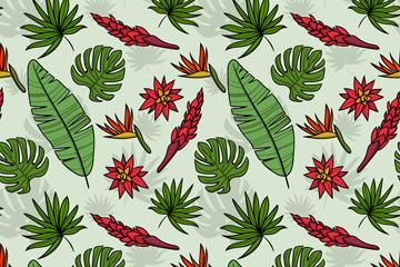 创意热带花卉和树叶无缝背景矢量图