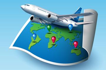 创意卷边世界地图和飞机矢量图