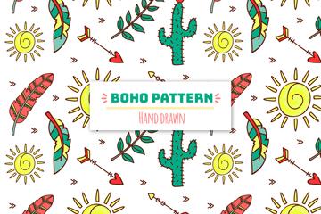 手绘波西米亚风羽毛和仙人掌无缝背景矢量图