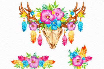 3款彩绘波西米亚风花卉装饰物矢量图