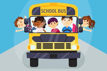 可爱返校校车里的学生矢量图