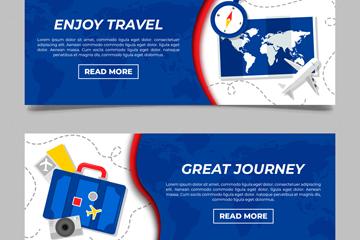 2款时尚蓝色旅行元素banner矢量图