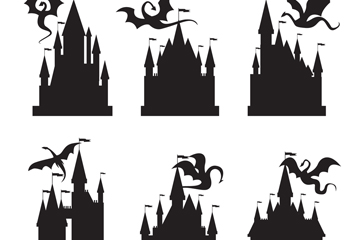 6款创意古堡和龙剪影矢量素材