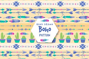 手绘波西米亚风羽毛和盆栽无缝背景矢量图