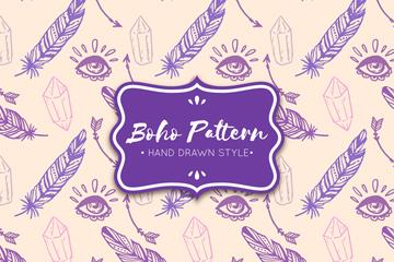 紫色波西米亚风羽毛无缝背景矢量图