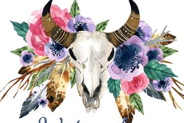 水彩�L牦牛�^骨和花卉矢量素材