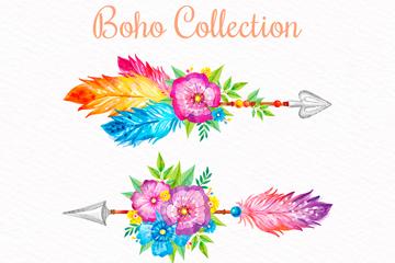 2款彩绘花卉羽毛箭矢量素材