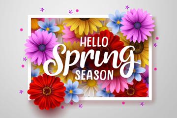 精美你好春季花卉卡片矢量素材