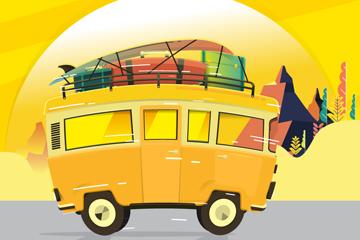 创意装满行李的的黄色旅行车矢量图