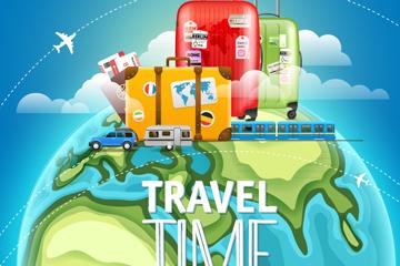 精美环球旅行地球和行李箱矢量素材
