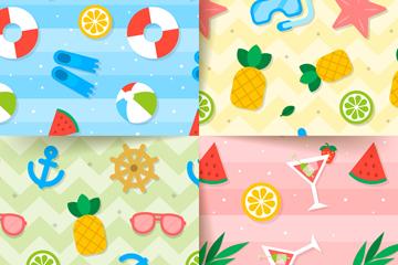 4款彩色夏季元素贴纸无缝背景矢