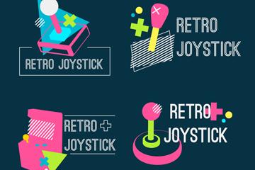 4款彩色复古游戏操纵杆标志矢量