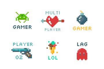9款彩色像素游戏标志矢量素材