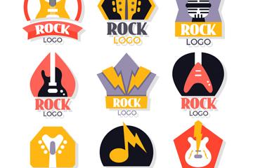 9款彩色摇滚元素标志矢量图